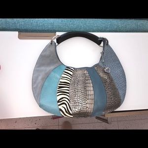 Sharif Patchwork Bag With Wooden Handle